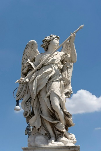 Angel with the lance, by Domenico Guidi, one of the ten statues of angels with symbols of the Passion, design by Bernini, Ponte Sant´Angelo, Rome, Latium, Italy, Europe : Stock Photo