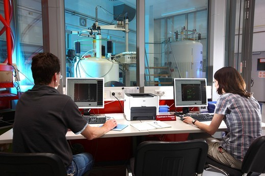 Stock Photo: 1848-536035 NMR nuclear magnetic resonance spectroscope for the detection of protein structures on an atomic level, control and evaluation of the measurements, Centre for Medical Biotechnology of the University Duisburg_Essen, North Rhine_Westfalia, Germany, Europe