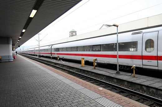 ICE train leaving Basel Badischer Bahnhof railway station, DB, Basel, Switzerland, Europe : Stock Photo