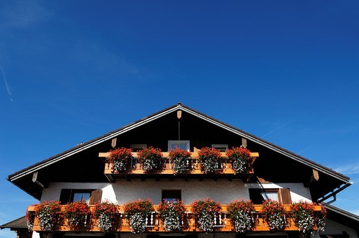 Stock Photo: 1848-536205 Allgaeuer guest house with flower boxes on the balcony, Bihlerdorf, Allgaeu, Bavaria, Germany, Europe