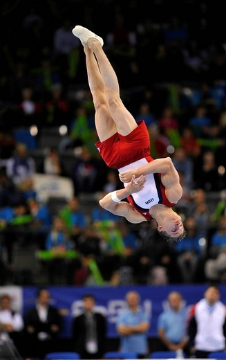 Jonathan Horton, USA, performing floor exercises, EnBW Gymnastics World Cup 2010, 28th DTB_Cup, Stuttgart, Baden_Wuerttemberg, Germany, Europe : Stock Photo
