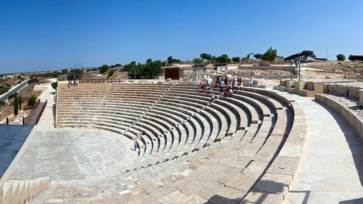 Ruins of Kourion, excavation site of ancient Kourion, Graeco_Roman amphitheatre, Odeon, Sanctuary of Apollo Hylates, Akrotiri peninsula, near Episkopi, southern Cyprus : Stock Photo