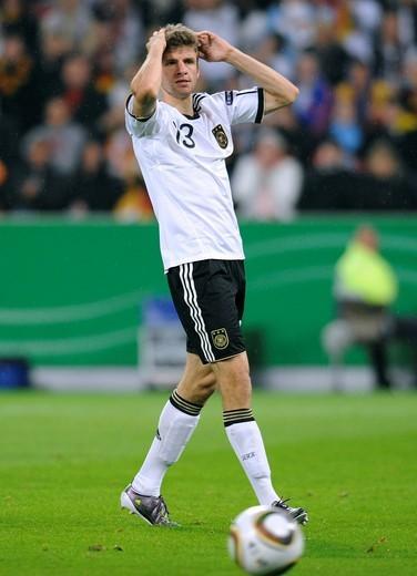 Stock Photo: 1848-536716 Thomas Mueller, qualifier for the UEFA European Football Championship 2012, Germany _ Azerbaijan 6:1, RheinEnergieStadion stadium, Cologne, North Rhine_Westphalia, Germany, Europe