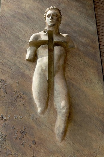 Resurrection, detail of the left bronze door of the church Santa Maria degli Angeli, by Igor Mitoraj, 2006, Piazza della Repubblica, Rome, Latium, Italy, Europe : Stock Photo