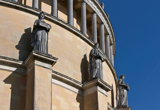 Statues by Johann Halbig as allegories of the Germanic tribes, Befreiungshalle Hall of Liberation, built by King Ludwig I of Bavaria, Kelheim, Lower Bavaria, Bavaria, Germany, Europe : Stock Photo