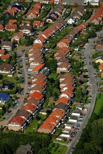 Aerial view, rows of houses, Siedlung Leppelmanns Feld Nordring settlement, Waltrop, Ruhr area, North Rhine_Westphalia, Germany, Europe : Stock Photo