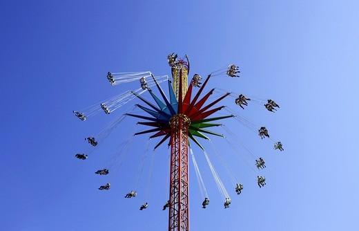 Star Flyer fun ride, Oktoberfest, Munich, Upper Bavaria, Bavaria, Germany, Europe : Stock Photo