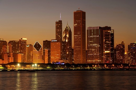 Stock Photo: 1848-537466 Night shot, Aon Center, Two Prudential Plaza, Trump Tower, Diamond Tower, skyline, Lake Michigan, Chicago, Illinois, United States of America, USA