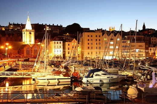 Stock Photo: 1848-537626 Sailboats in the marina, main port, St. Peter Port, Guernsey, Channel Islands, Europe