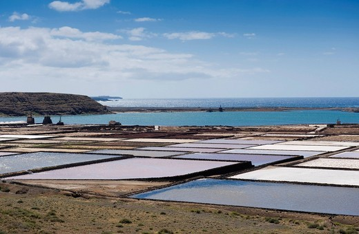 Sea salt refinery, pools of brine, Salinas de Janubio, Lanzarote, Canary Islands, Spain, Europe : Stock Photo