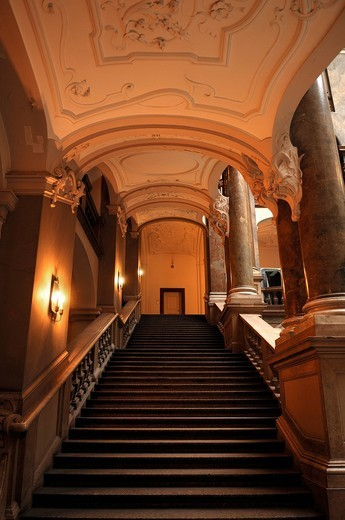 Stock Photo: 1848-537763 Side stairway in the atrium, Palace of Justice, 1891_1897, Prielmayerstrasse 7, Munich, Bavaria, Germany, Europe