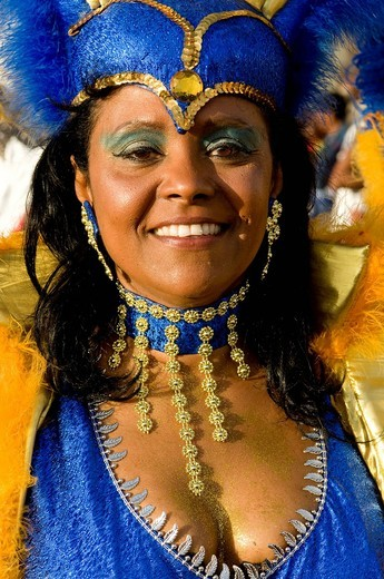 Stock Photo: 1848-537801 Colourfully costumed woman, Carnival, Mindelo, Cape Verde, Cabo Verde, Africa