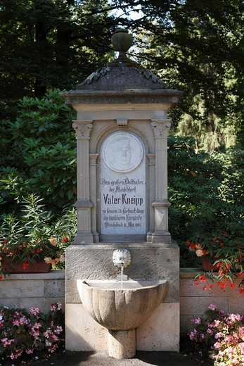 Vater Kneipp Brunnen well, Kneipp well in the spa gardens, Bad Woerishofen, Unterallgaeu district, Allgaeu region, Swabia, Bavaria, Germany, Europe : Stock Photo