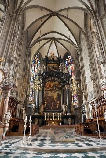 Interior view Stephansdom Vienna Austria : Stock Photo