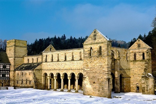 Ruins, Kloster Paulinzella Abbey, Thuringia, Germany, Europe : Stock Photo