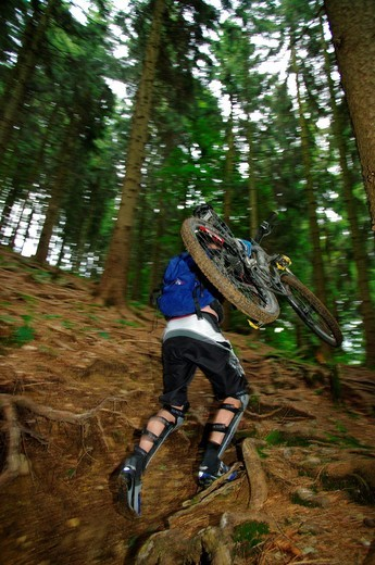 Downhill mountain biker riding on a trail through a forest : Stock Photo