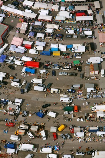 Aerial view, Essen car market at the drive_in cinema next to the Georg_Melches_Stadion stadium, Essen, Ruhr area, North Rhine_Westphalia, Germany, Europe : Stock Photo