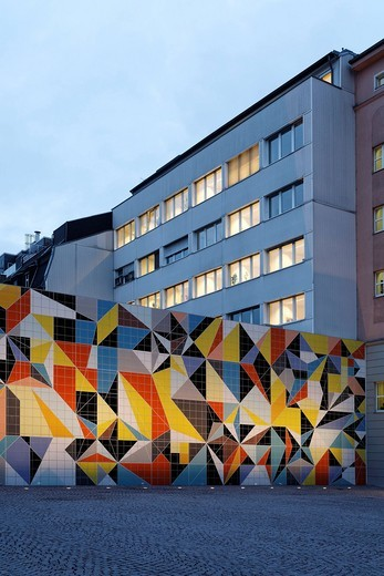 Stock Photo: 1848-538641 Geometric mosaic made of tiles by Sara Morris, Paul_Klee_Platz square, Kunstsammlung Nordrhein_Westfalen arts collection, K20 building, Duesseldorf, North Rhine_Westphalia, Germany, Europe