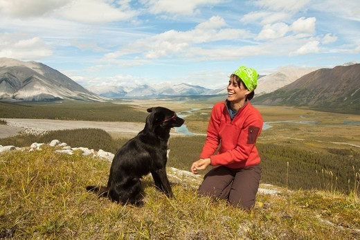 Young woman playing with her dog, Alaskan Husky, sled dog, panorama, Wind River valley and Mackenzie Mountains behind, Yukon Territory, Canada : Stock Photo
