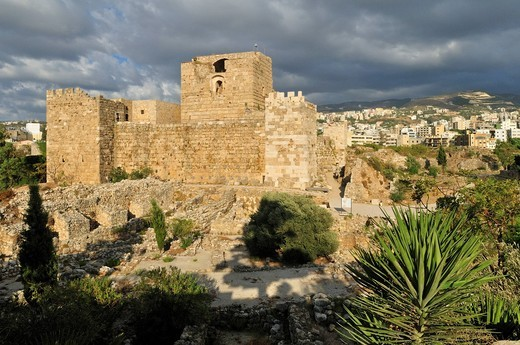 Crusader castle in the archeological site of Byblos, Unesco World Heritage Site, Jbail, Lebanon, Middle East, West Asia : Stock Photo