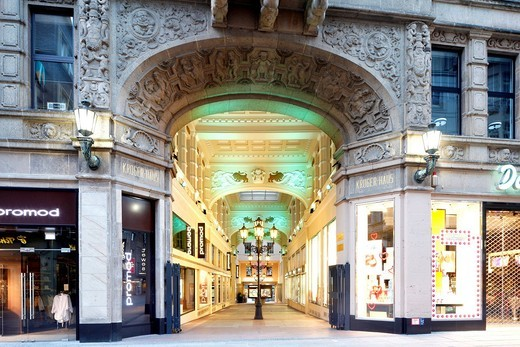 Kruegerpassage shopping arcade, Krueger House, Dortmund, Ruhr Area, North Rhine_Westphalia, Germany, Europe : Stock Photo