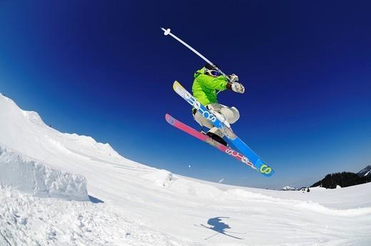Skier, fun park, ski resort of Reit im Winkl, Chiemgau, Upper Bavaria, Germany, Europe : Stock Photo