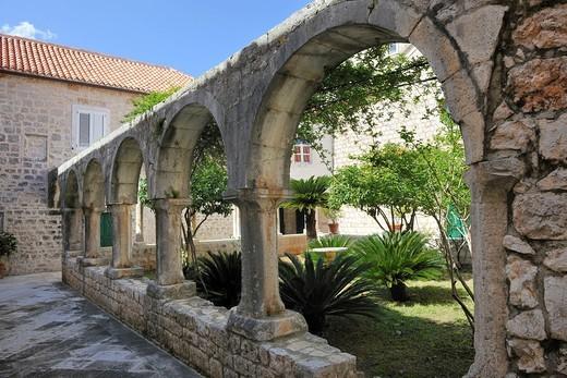 Cloister of the parish church, Vrboska, Hvar Island, Croatia, Europe : Stock Photo