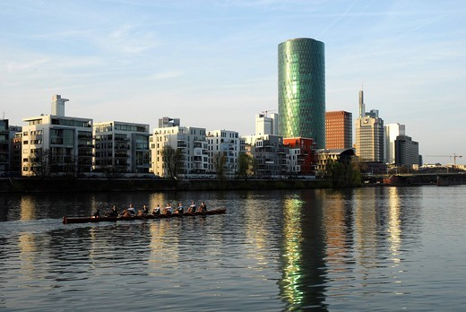 Stock Photo: 1848-539114 Rowing boat on the river, Westhafen Tower in the Gutleutviertel quarter, Frankfurt am Main, Hesse, Germany, Europa