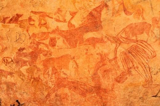 Stock Photo: 1848-539190 Neolithic rock art, painting of animals and people, Tasset Plateau, Tassili n´Ajjer National Park, Unesco World Heritage Site, Wilaya Illizi, Algeria, Sahara, North Africa