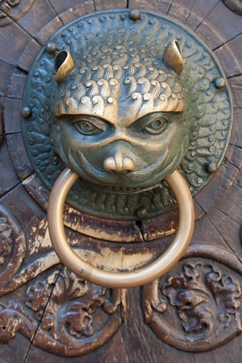 Stock Photo: 1848-539252 Door knocker, animal head, Cathedral of Our Lady, Augsburg Cathedral, Augsburg, Bavaria, Germany, Europe
