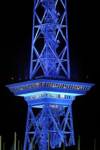 Radio Tower with blue lighting, Berlin Charlottenburg, Berlin, Germany, Europe : Stock Photo