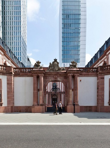 Palais Thurn und Taxis in front of the office tower project PalaisQuartier, Thurn and Taxis Platz, Frankfurt, Hesse, Germany, Europe : Stock Photo