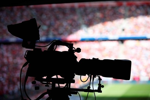 Camera in a stadium during a football match : Stock Photo