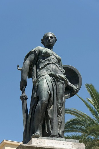 Stock Photo: 1848-539582 Bronze statue, Monument to the Fallen, by Gaetano Orsolini, Piazza Roma, Ascoli Piceno, Marches, Italy, Europe