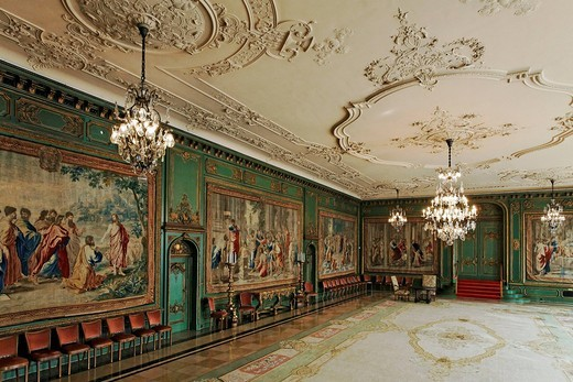 Garden room with Gobelins tapestries, Villa Huegel, former home of the Krupp family, Essen_Baldeney, North Rhine_Westphalia, Germany, Europe : Stock Photo