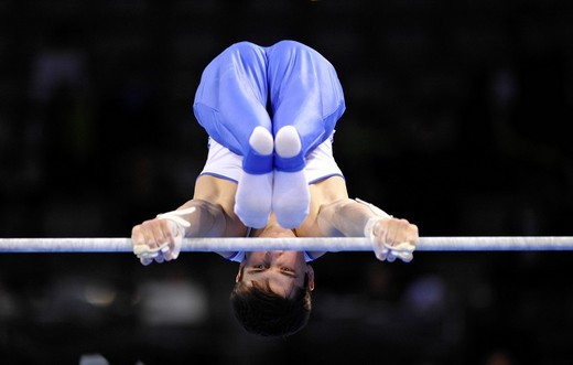 Stock Photo: 1848-539666 Mykola Kuksenkow, UKR, on the horizontal bar, EnBW Gymnastics World Cup 2010, 28th DTB_Cup, Stuttgart, Baden_Wuerttemberg, Germany, Europe