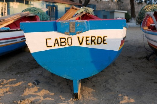 Fishing boat with lettering Cabo Verde, Tarrafal, Santiago, Cape Verde, Africa : Stock Photo