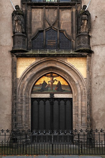 Entrance to the Schlosskirche, castle church, where Martin Luther nailed his 95 Theses, Lutherstadt Wittenberg, Martin Luther City Wittenberg, Saxony_Anhalt, Germany, Europe : Stock Photo