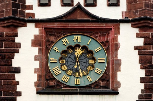 Clock on Martinstor tower, 13th century, Kaiser_Joseph_Strasse, Freiburg im Breisgau, Baden_Wuerttemberg, Germany, Europe : Stock Photo