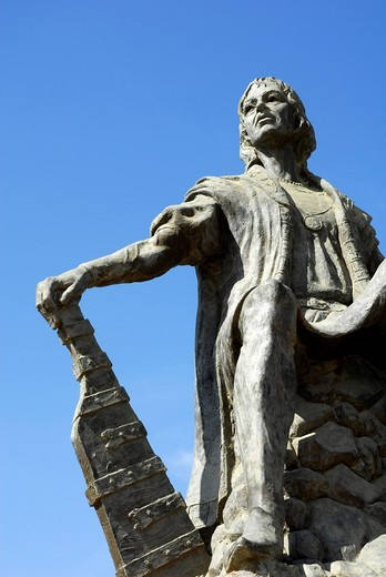 Christopher Columbus statue at the monastery Monasterio de la Rabida, Palos de la Frontera, Costa de la Luz, Huelva region, Andalucia, Spain, Europe : Stock Photo