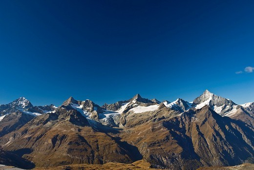 Alps of Valais, Dent Blanc left to right to Weisshorn, from Gornergrat, Zermatt, Switzerland : Stock Photo