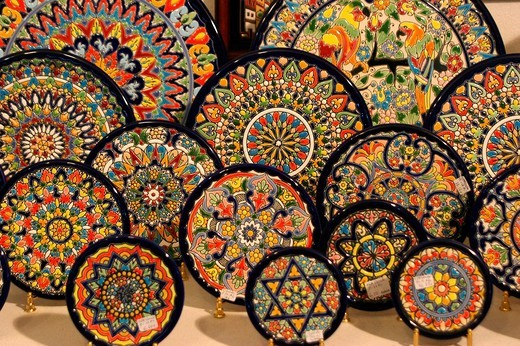 Plates in a souvenir shop in Sevilla, Andalusia, Spain, Europe : Stock Photo