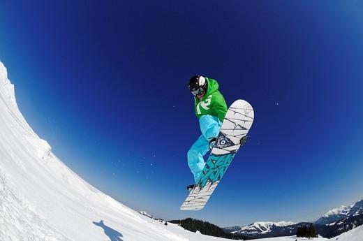 Stock Photo: 1848-540176 Snowboarder, fun park, ski resort of Reit im Winkl, Chiemgau, Upper Bavaria, Germany, Europe