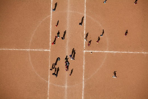 Aerial view, sports ground, clay court, youth training, soccer club, Wetter, Ruhrgebiet region, North Rhine_Westphalia, Germany, Europe : Stock Photo