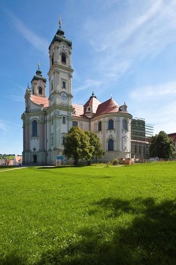 Ottobeuren Abbey, Diocese of Augsburg, Ottobeuren, Upper Swabia, Lower Allgaeu, Bavaria, Germany, Europe : Stock Photo