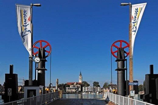 Pier of the car ferry with old lifting device, behind the Neuapostolische Kirche New Apostolic Church, Romanshorn, Canton Thurgau, Switzerland, Europe : Stock Photo