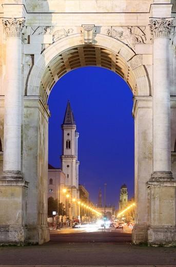 Victory Gate, Ludwigstrasse, Schwabing, Munich, Bavaria, Germany, Europe : Stock Photo