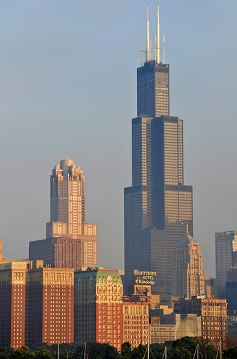 Willis Tower, formerly named Sears Tower and renamed in 2009, 311 South Wacker Drive skyscraper, skyline, Chicago, Illinois, United States of America, USA : Stock Photo