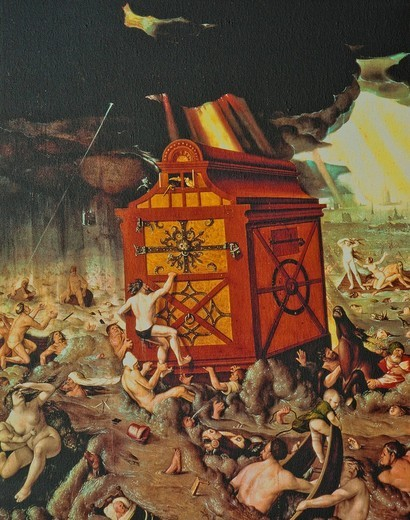 The Deluge, a painting by Hans Baldung Grien from 1517 : Stock Photo