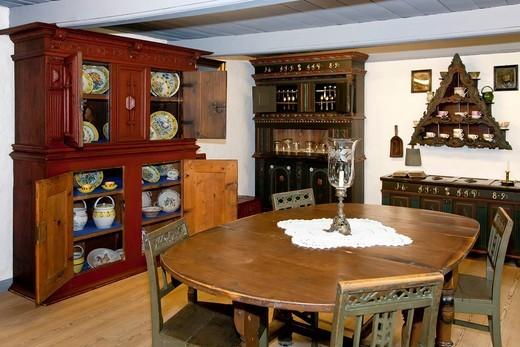 Old Danish sitting room interior from the 1850s, Tranebjerg Museum, Samsoe, Denmark, Europe : Stock Photo
